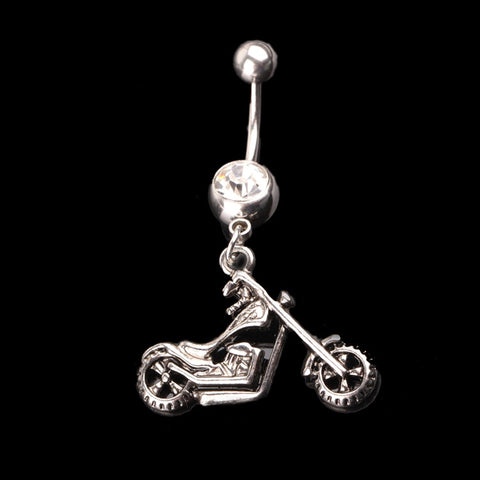 Hot New Personality Body Piercing Jewelry Motor Shape Rhinestone Barbell Belly Button Navel Ring
