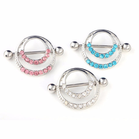 Unisex Crystal Body Piercing Jewelry Double Round Body Jewelry Belly Bar Button Ring