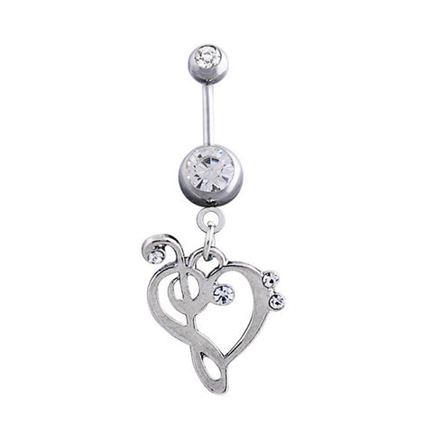 New Surgical Stainless Steel Heart Musical Notes Shaped Rhinestone Belly Button Navel Ring Women Girl Jewelry