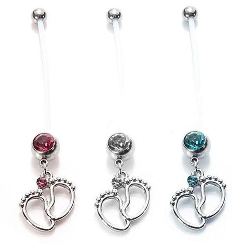 Women Baby Feet Flexible Bar Pregnancy Maternity Belly Navel Ring Body Piercing Cute Paby Foot Pendant Stainless Steel Belly Rin