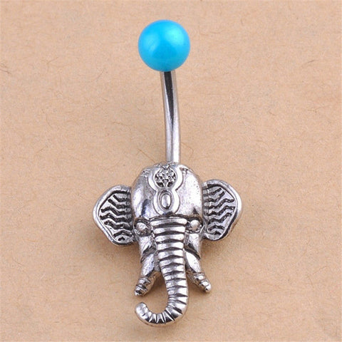 Cute Girl Body Jewelry 1 Pc Navel Piercing For Women Vintage Classic Fashion Elephant Navel Belly Button Rings Steel Bars