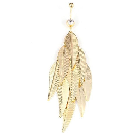 1Pcs Gold/Silver Women Sexy Leaf Feather dangle belly button rings  navel piercings fashion body jewelry 2 Colors