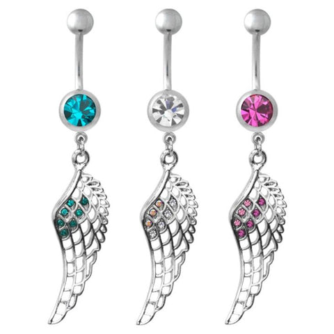 Shiny Inlay Crystal Hollow Feather Wing Dangle Navel Belly Button Ring Body Piercing,Belly Piercing  1 PCS