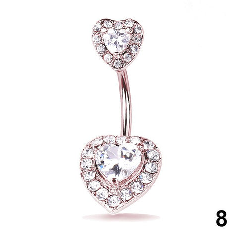 Sexy Navel Belly Button Ring Glitter Love Heart Mermaid Fish Scale Piercing Jewelry Navel Nail TT@88