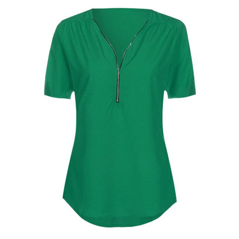 Green Casual V Neck Blouse