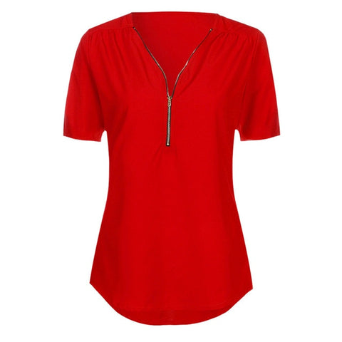 Hot Red Casual V Neck Blouse