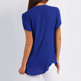 Royal Blue Casual V Neck Blouse