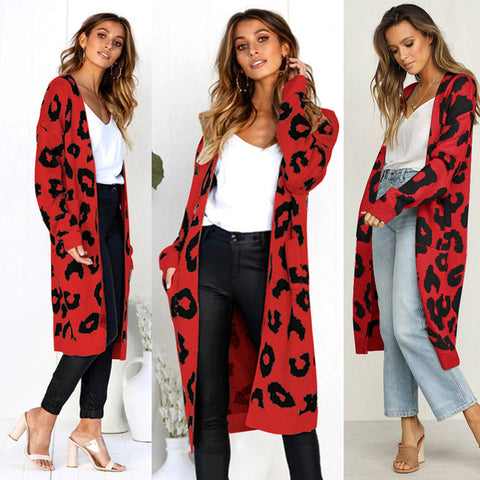 Ins Style Knitted Long Cardigan