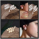 New Fashion 2016 Women's Punk Rock Retro Earring Crystal Leaf Ear Cuff Warp Clip Ear Stud for women ed0161