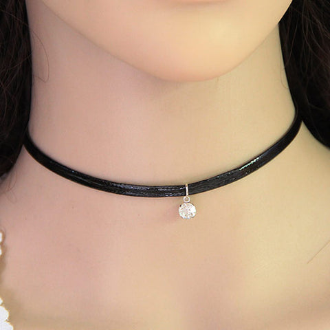 Hot Punk Black PU Leather Cord Rhinestone Charm Vintage Choker Necklace Simple Goth Gothic Necklace Costume Accessories Jewelry