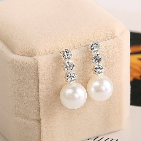 Crystal Rhinestone Dangling Pearl Earrings