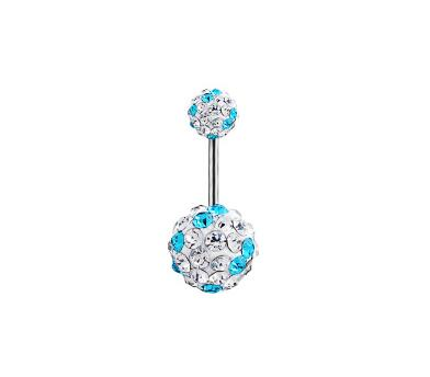 Trendy Ball Crystal Navel Ring Stainless Steel Piercing Belly Button Rings Body Fashion Jewelry Summer Style Women