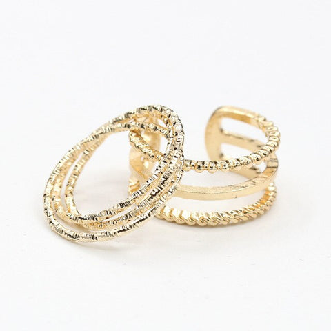 2 pieces/set Multilayer Rings Gold Silver Scrub Hollow Midi Knuckle Mid Finger Ring Set Open Adjustable Women Jewelry