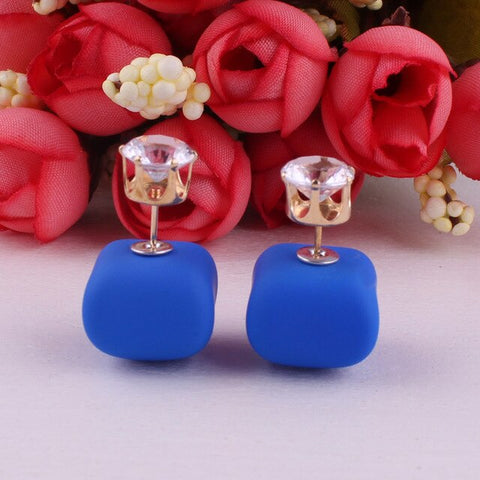 14 Colors New Arrival Candy Colors Rubber Double Sides Pearl Earrings Cute Square Crown Crystal Double Ball Earrings for Women