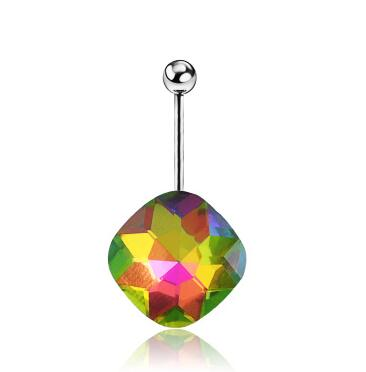 2016 new 1pcs Belly button ring Body piercing Jewelry Dangle Tetragonal crystal Surgical Steel Nickel free 6 colors