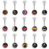 1Pc Surgical Stainless Steel Navel Bar Stud Belly Button Rings Skull Flame Cherry Flower Pattern Body Piercing Jewelry