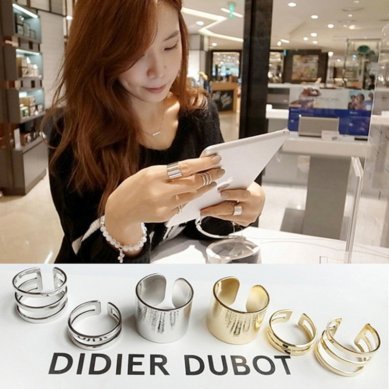3 pieces/set Gold Silver Rings Midi Mid Finger Knuckle Ring Set Hollow Open Adjustable Women Punk  Jewelry Accessories