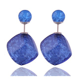 10 Colors New Arrival Candy Colors Double Pearl Crack Balls Earrings Elegant Square Double Ball Earrings for Women