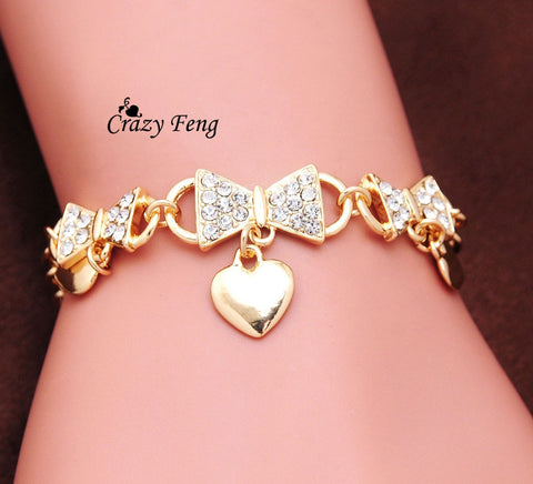 Wedding Bridal Jewelry Costume Accessories Gold-color Heart Bracelets Bowknot Crystal pulsera Women Girls Gift