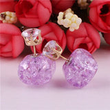 10 Colors New Fashion Natural Stone Crack Double Sides Earrings Square Gold Color Crown Pattern Stud Earrings For Women Jewelry