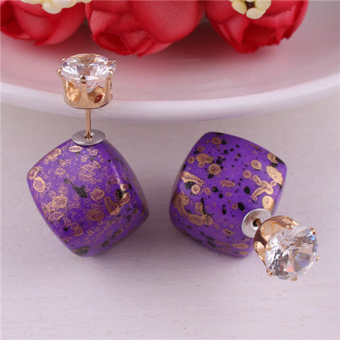 13 Colors New Arrival Natural Stone Double siedes Crystal Geometric Earring Bohemian Square Gold Color Crown Earrings For Women
