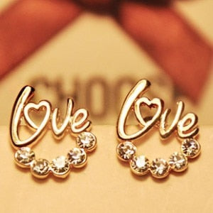 Cute Gold LOVE Letter w/ Crystals Earrings