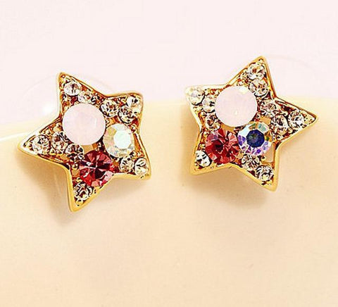 New Fashion Women Starfish Earrings Geometric Star Colorful Crystal Stud Earrings For Women Party Gifts
