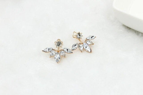 Silver Plated Leave Crystal Stud Earrings Fashion Statement Jewelry Earrings for Women
