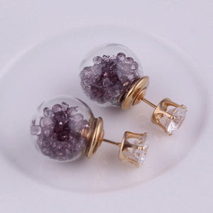 Crystal Bijoux Fashion New Rose Gold Color Jewelry Big Size Glass Crown Double simulated pearl Stud Earrings For Women