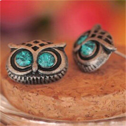 Hot Sale Bijoux Antique Big Eye Owl Stud Earrings Fashion Jewelry Brincos Crystal Earing pendientes Cute Animal Earring e07