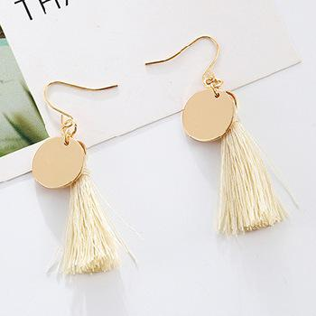 Korean Version Of The Simple Temperament Black And White Color Tassel Earrings Imitation Pearl Long Earrings Bohemian Earrings