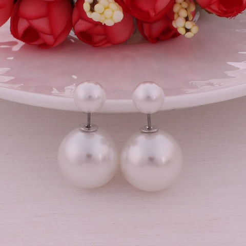 9 Colors New Unique Design Crack Double Sides Pearl Stud Earrings Shining Crystal Crown Big Ball Earings For Women Party Brincos
