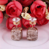 9 Colors New Arrival Luxurious Double Sides Earrings Bohemian Square Pattern Gold Color Crown Crystal Earrings For Women 2016