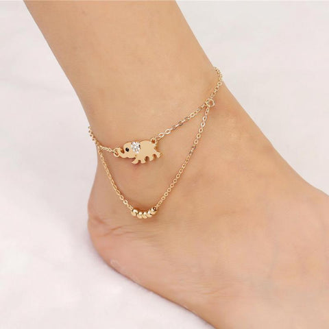 2017 Hot Ankle Bracelet Foot Leg Chain With Gold Color Elephant Charm Sexy Vintage Women Foot Jewelry For Girl Best Friend Gifts