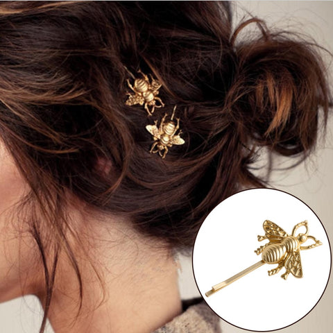 Women Fashion Jewelry gold Bee Hairpin Side Clip Hair Accessories Barrette Bobby Pins
