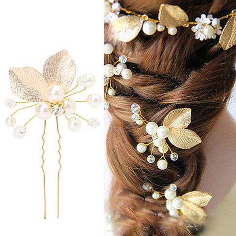 Women's Hair Clip Leaf Rhinestone Faux Pearls Hairpin Bridal Bobby Pin Jewelry