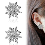 Full Rhinestone Snowflake Stud Earrings Gold Color Silver Lucky Crystal Zircon Snow Flower Earring For Women Fashion Jewelry