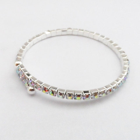 Retail Silver Tone Rainbow Crystal Changable Bangle Women Party Costume Jewelry Bracelet