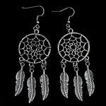Dream Catcher Drop Earrings Silver Color Dangle Feather Blue Beaded Long Tassel Statement Charm Earring Women Bohemian Jewelry