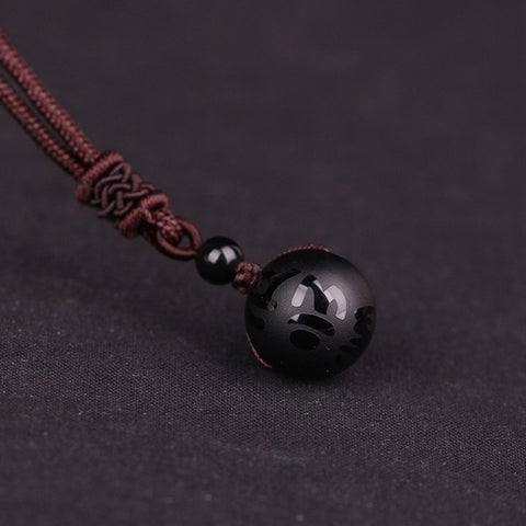 Handmade Rope Chain Natural Stone ball pendant necklace crystal polishing transfer good luck Buddhism Amulet Jewelry 16mm Dia