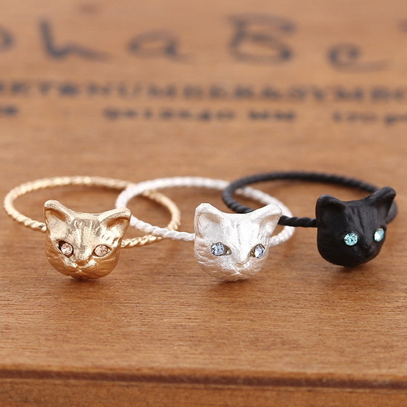 Sale 1PC New Cute Popular Hot Golden/Black/Silver Women Ring Pussy Cat Free Size Rhinestones Fashion Jewelry Gift