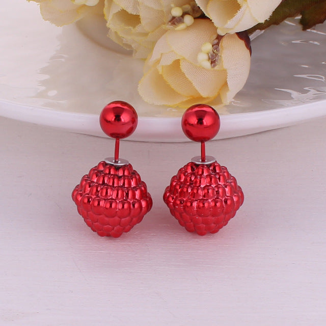 11 Colors Hot Selling Double Sides Big Pearl Stud Earrings Cute Bubble Ball Earrings For Women Bead Jewelry Fine Jewelry Brincos