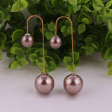 Promotions 2016 New Hot Selling Boucle d'oreille Candy Colors CC Large Long Doubled Side Pearl Jewelry Stud Earrings For Women
