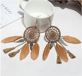 Dream Catcher Hollow out Vintage Leaf Feather Dangle Earrings For Women Bohemia Style Earring Lady's Ethnic Indian Jewelry