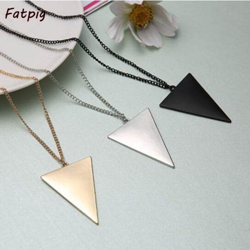 1PCS Women Personality Punk Triangle Shape Pendant Long Chain Costume Sweater Necklace Jewelry Silver Gold Black Color