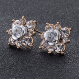 Crystal Stud Earrings Boucle d'oreille Femme Fashion Flower Earrings for Women Gold Bijoux Jewelry Brincos Pendientes Mujer