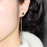 Drop Earrings Gold Color Triangle Heart Long Earrings For Women Fashion Jewelry Mother Gift