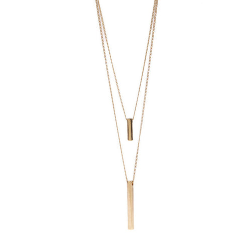Three-dimensional rectangular double necklace