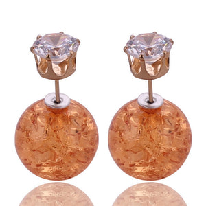 Sale Price Hot 9 Colors Creative Crack Double Sides Pearl Stud Earrings Big Ball Shining Crown Crystal Earrings For Women Bijoux