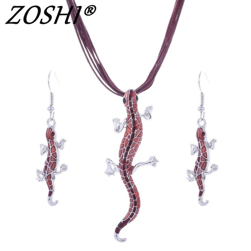 Hot African female costume Jewelry set for women Multilayer Leather Chain Enamel Animal Pendant Necklace earrings set wedding